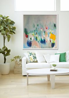 """large cream Print of ABSTRACT  PAINTING with light blue and pink  """"Shimmer Shimmer"""" Lola Donoghue"""