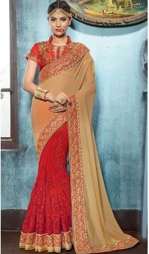 Tan Brown Color Georgette Traditional Ethnic Wear Saree Blouse | FH482474911 #heenastyle , #saree , #sari , #wedding , #boutique , #blouse , #fashion , #style , #designer , #sarees , #saris , @heenastyle