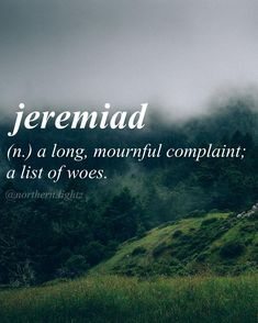 Jeremiad French origin //[jer-uh-mahy-uh d//: A long mournful complaint; a list of woes. Unusual Words, Weird Words, Rare Words, Big Words, Words To Use, Unique Words, Powerful Words, Cool Words, Pretty Words