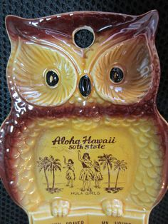 Vintage ceramic Owl Aloha Hawaii 50th State Hula by kookykitsch, $14.99/ if you happen to spot one of these, hesitate....