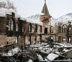 Ruins of Provo Tabernacle after fire of Dec. 17, 2010, that destroyed the historic structure that had been in use since 1898. (R. Scott Lloyd, copyright IRI)
