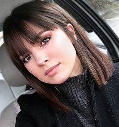 38 Chic Short Bob Haircuts With Bangs That Are Totally Fabulous, Bob Haircuts Wi. - 38 Chic Short Bob Haircuts With Bangs Th. Short Bob Haircuts, Long Bob Hairstyles, Haircut Bob, Hairstyles For Medium Length Hair With Bangs, Bang Haircuts, Medium Straight Hairstyles, Layered Haircuts, Braid Hairstyles, Haircuts With Fringe