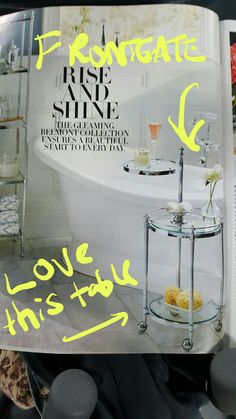 love this table that can move on Wheels and actually extend over the tub when you're taking a long bath. Found it and the frontgate catalog holiday 2016