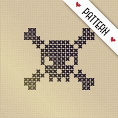 Cross Stitch Skull and Crossbones - Chart ❥ 4U // hf