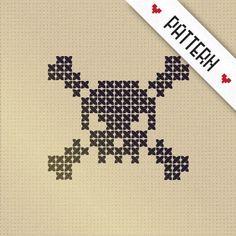 SKULL & BONES - an original counted cross stitch pattern - PDF digital file