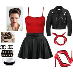 A fashion look from July 2015 by featuring WearAll, Yves Saint Laurent, Akira Black Label, Valentino and Chanel 50s Outfits, Mode Outfits, Dance Outfits, Girl Outfits, Fashion Outfits, Biker Chick Costume, Biker Chick Outfit, Moda 80s, Fashion 101