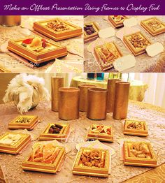 Using gold picture frames to present appetizers, nuts, candies - for an exotic Arabian Nights theme