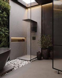 """Tem um apartamento aí? on Instagram: """"Redefinindo o que é """"tomar uma ducha"""" Difícil dizer se o que chama mais atenção é o tamanho do super chuveiro ou se a altura do espaço 🤔 o…"""" Bathroom Design Luxury, Modern Bathroom Design, Modern Toilet Design, Modern Home Design, Modern Luxury Bathroom, Washroom Design, Luxury Bathrooms, Contemporary Bathrooms, Contemporary Design"""
