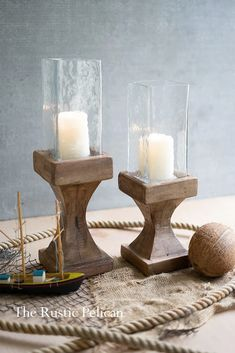 Sale-Reclaimed Wood-Candle Holders-Rustic-Nautical-Beach Home-Free Shipping - The Rustic Pelican