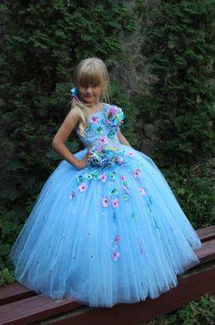 White Blue Orange Turquoise Flower Girls Dress Birthday