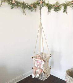 baby nursery The Baby Swing Chair is handmade with macrame tequniques. This Swing Chair is . Boho Nursery, Nursery Room, Girl Nursery, Nursery Decor, Project Nursery, Playroom Decor, Baby Hammock, Baby Swings, Hammock Swing