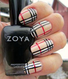 Concrete and Nail Polish Burberry Plaid Nails With Zoya Plaid Nail Designs, Plaid Nail Art, Plaid Nails, New Nail Designs, Short Nail Designs, Burberry Nails, Burberry Plaid, Burberry Print, Gorgeous Nails