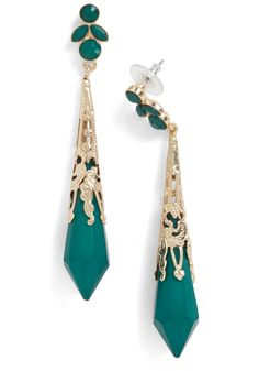Verdant It Be Lovely? Earrings - Green, Gold, Formal, Wedding, Party, Vintage Inspired, French / Victorian, Holiday Party, 20s, Top Rated