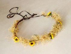 Sunflower Bridal hair accessory, wedding headpiece, Babys breath flower crown mini sunflowers Woodland Head wreath photo prop rustic brown. $34.00, via Etsy.
