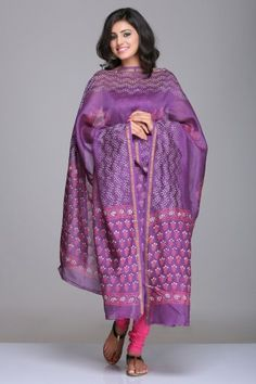 Purple Unstitched Chanderi Suit With Floral Hand Block Print & Gold Zari Border