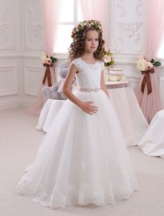 Lace Ivory Flower Girl Dress - Holiday Wedding Birthday Party Bridesmaid Ivory Lace Tulle Flower Girl Dress