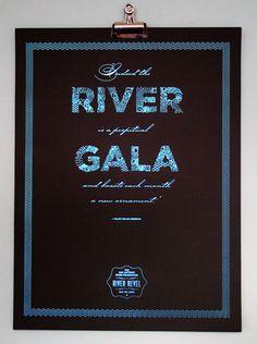 keywords: gala invitation benefit fundraiser party non-profit corporate brushstroke blue black San Antonio