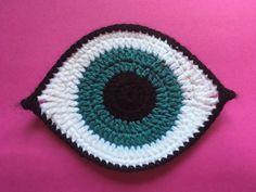 Talisman eye pattern by slipstitch hollow Crochet Eyes, Crochet Motif, Crochet Dolls, Easy Crochet, Crochet Stitches, Free Crochet, Knit Crochet, Crochet Patterns, Crochet Accessories