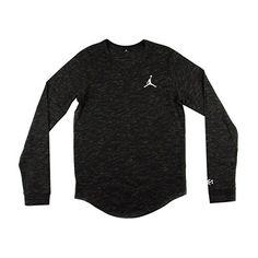"NIKE Nike Mens Air Jordan Long Sleeve T-Shirt ""Bhm"" Black/Yellow-Green…"
