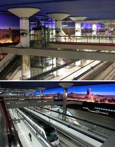 Modern Metro: 14 of the World's Coolest Subway Stations Underground Tube, Metro Subway, Train Stations, Metro Station, Light Architecture, Public Transport, Bridges, Places To Travel, Madrid