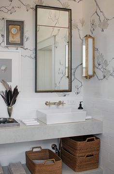 This bathroom is TO DIE FOR! Interior design by at the 2017 Southern Style Now Showhouse. 💡: Keating Medium Sconce by Ralph Lauren Art sourced from southernstylenow THshowhousetour circalighting Bathroom Red, Bathroom Styling, Minimalist Bathroom, Bathrooms Remodel, Elegant Bathroom, Bathroom Wallpaper, Rustic Bathrooms, Bathroom Renovations, Bathroom Design