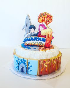 Sharkboy & Lavagirl cake #cucinamando #cookies #sharkboyelavagirl #sharkboy #sharkboyelavagirlcake #bdaycake #tortadicomeanno