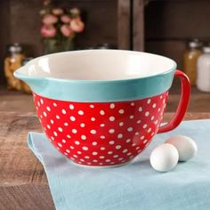 The Pioneer Woman Flea Market 2.83-Quart Batter Bowl with Decal, Red Polkadot