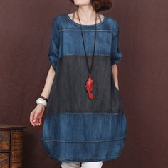 Blue Korea Loose Denim Skirt Women Plus Size by Showcottonstyle
