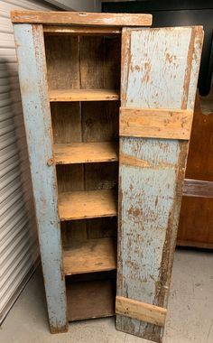 Primitive American Southern chimney cabinet cupboard in blue paint original hardware two board back 2 x 12 construction Square nails heavy piece Shipping is not free Primitive Furniture, Primitive Antiques, Country Furniture, Farmhouse Furniture, Primitive Decor, Antique Furniture, Furniture Ideas, Primitive Shelves, Colonial Furniture