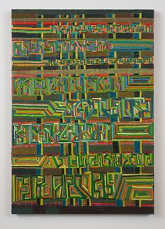 "Steve Roden, ""of metal dust machined and mentioned"", 2009, Oil and acrylic on linen, 32"" x 46"""