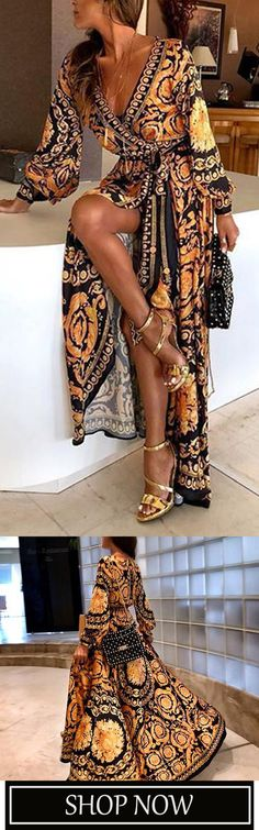 57%OFF! Early Spring Long Sleeve V-Neck Print Maxi Dress Cute Outfits With Jeans, Stylish Outfits, Cool Outfits, Leather Leggings Look, Mode Hippie, Look Fashion, Womens Fashion, Elegantes Outfit, Mode Inspiration