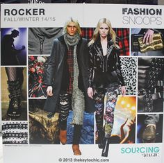 The first trend, Rocker, is where elements of 1970s punk collide with 1990s grunge. Expect sleek leathers and destroyed denim as key materials, joined by moody plaids and florals in dark hues. Trims add to the tough nature of the Rocker theme with embellishments such as studs, zippers, and buckles. Key colors include metallics, gray, purplish royal, blues, burgundy, navy, black, and deep reds.
