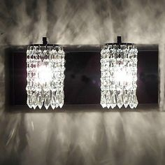 120W Modern Wall Light with Crystal Pendants and 2 Lights in Polished Chrome – AUD $ 151.95
