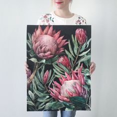 King Proteas on Dark Background — Ampersand Mother Watercolor Artwork, Watercolor And Ink, Watercolor Illustration, Watercolor Flowers, Protea Art, Protea Flower, Peony Painting, Painting & Drawing, Sunflower Drawing