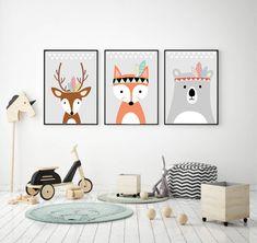 TRYPTYK DO POKOJU DZIECKA A4 PLAKATY - black-dot-studio - Plakaty dla dzieci