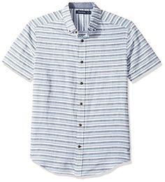 Nautica Men's Short Slv Classic Fit Linen Blend Striped Button Down Shirt, Chambray Ashore, Large