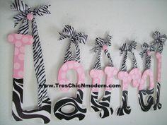wall hanging letter nursery wooden letter KIDS wall decor monogram baby shower gift cheetah zebra baby girl first birthday gift. $15.00, via Etsy.