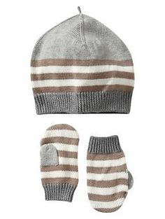 Baby Gap Gavorite Striped Hat and Mittens 0-3 Months 22.95 on sale for 14.99 40% off paid 8.99
