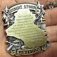 Have your custom engraved coin made using diamond etching on this Desert Storm Veteran Custom Engraved Challenge Coin. A perfect military gift. Coin Design, Flag Design, Challenge Coin Display, Military Challenge Coins, Coin Art, Anniversary Dates, Detail Art, Custom Engraving, Deserts