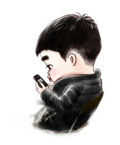 Kpop Exo, Exo Chanyeol, Kyungsoo, Kaisoo, Chanbaek, Exo Cartoon, Cartoon Fan, Exo Fanart, Exo Anime