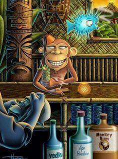 Tiki Art, Tiki Tiki, Tiki Lounge, Mask Painting, Hawaiian Art, Blog Pictures, Tiki Room, Tropical Art, Pastel Drawing