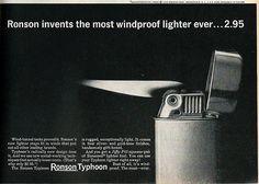 "Tobacciana Advertising: Ronson ""Typhoon"" Cigarette Lighter, ""Ronson invents the most windproof lighter ever . . . 2.95"", Argosy Magazine, November 1962."