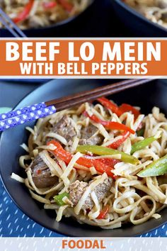 Simple and flavorful beef and pepper lo mein will satisfy your craving for takeout, and you don't have to worry about spending lots of time making it. The ingredients for the dish are very simple and the straightforward recipe comes together quite quickly. Home-cooked really is better! #lomein #easydinnerideas #foodal Slow Cooker Recipes, Beef Recipes, Healthy Recipes, Savoury Recipes, Healthy Meals, Pasta Recipes, Dinner Recipes, Noodle Recipes, Dinner Ideas