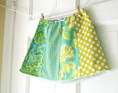 girl's skirt made with fabric strips-would be easy to make