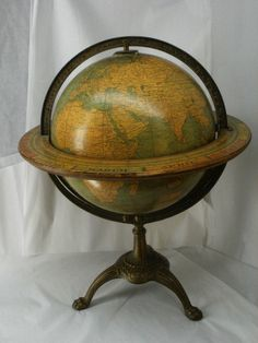 Antique World Globe American Map Company Terrestrial by griffincat
