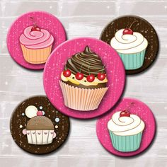 Pink & Brown Sparkle Cupcakes Digital Collage Sheet - perfect for cupcake toppers!