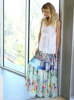 Johnny Was Collection Spring 2015 Lookbook featuring the Embroidered Crochet Tank + Floral Tiered Skirt