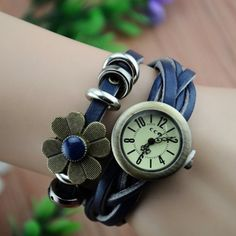 MagicPiece Handmade Vintage Style Leather Watch For Women Sunflower and Braided Belt in 7 Colors-Blue: Watches: Amazon.com