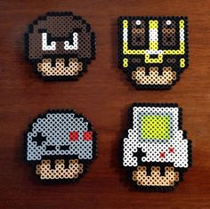 Super Mario Brother Inspired Funky Mushroom Collection perler beads by EBPerler