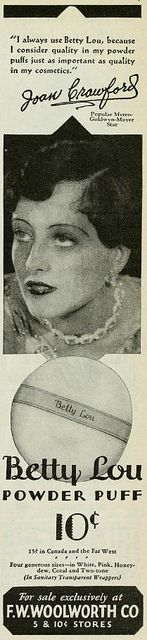 Vintage Advert for Betty Lou Powder Puffs from F W Woolworth with Joan Crawford - Photoplay March 1929 by CharmaineZoe, via Flickr